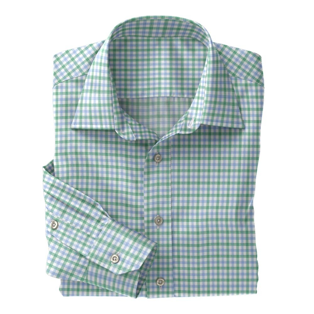 Light Blue and Green Check Poplin