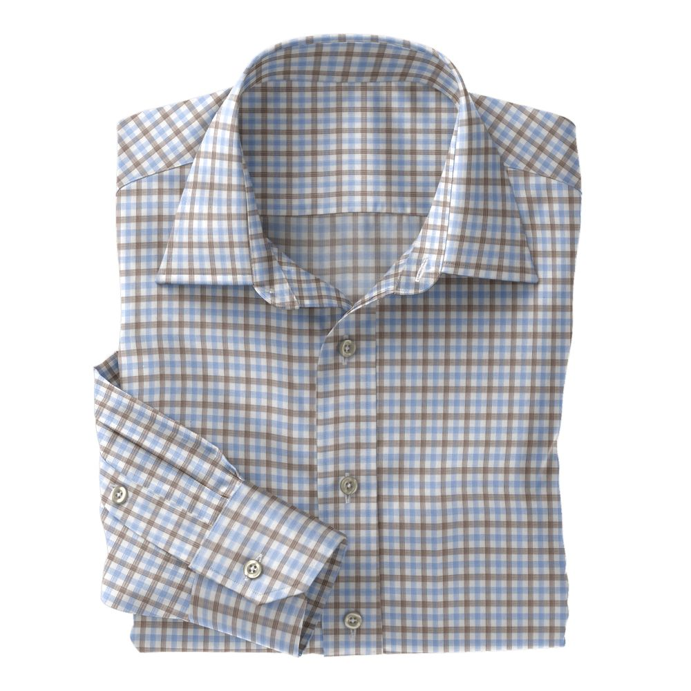 Light Blue and Brown Check Poplin
