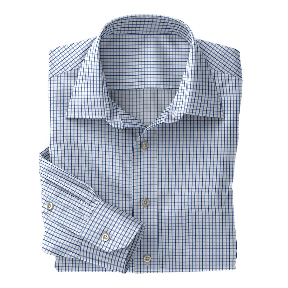 Navy and Royal Check Poplin