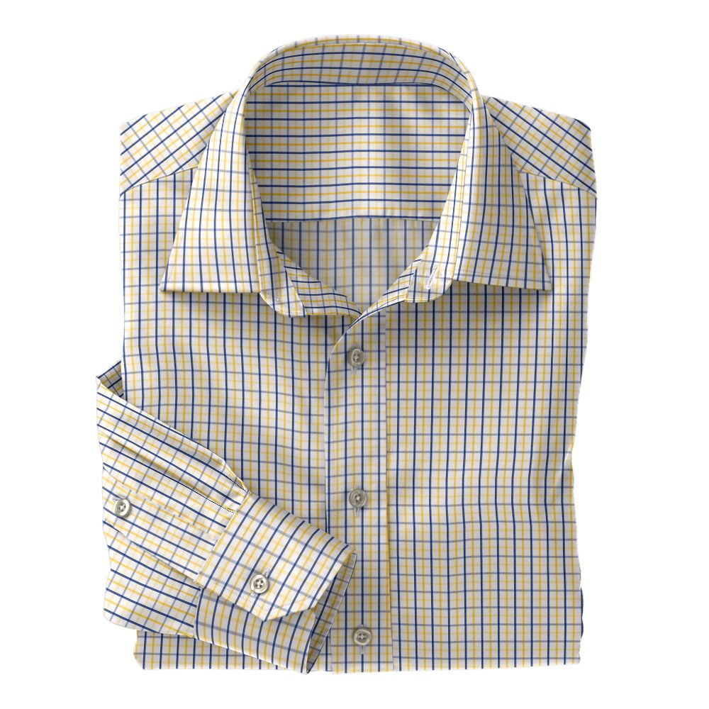 Navy and Yellow Check Poplin