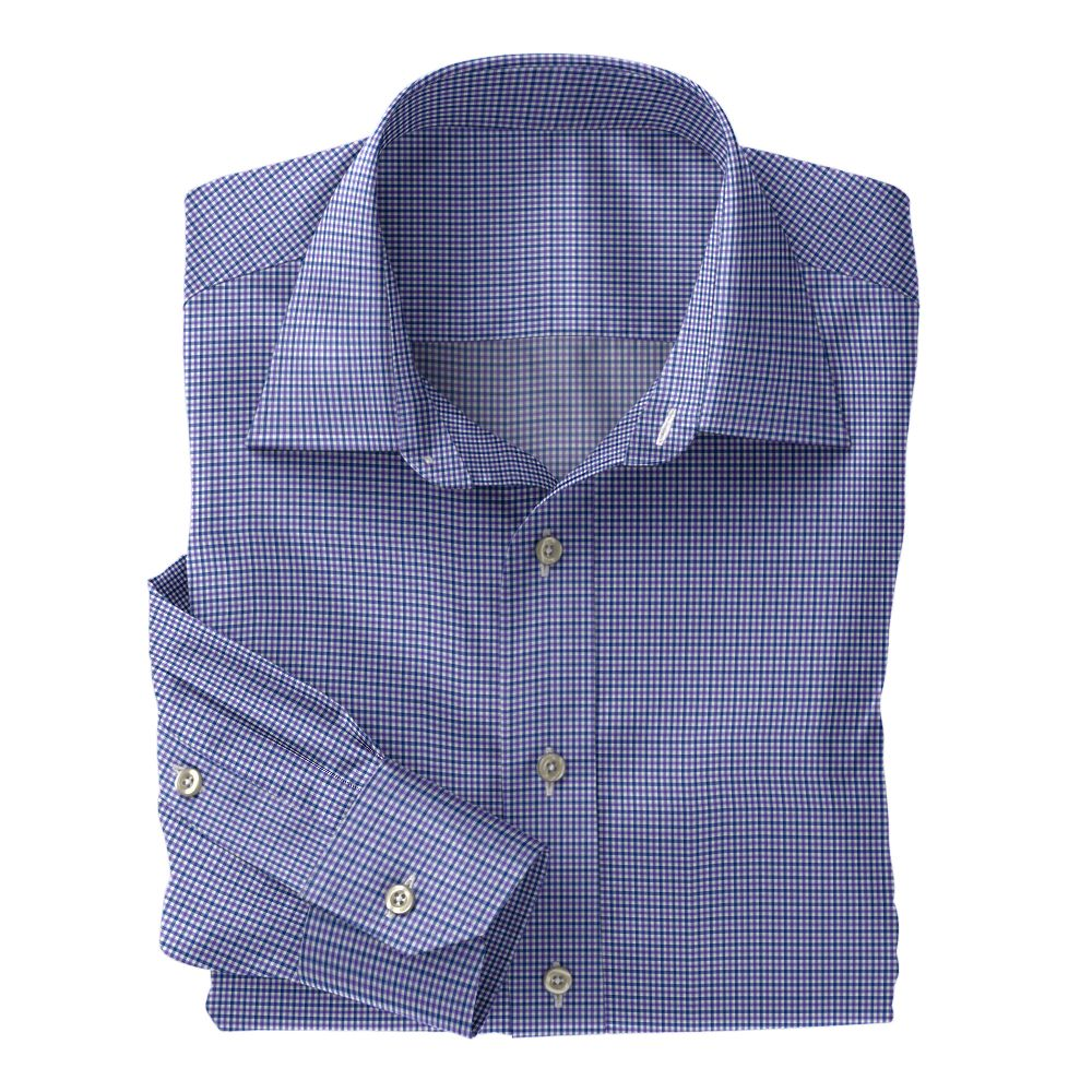 Purple and Navy Micro Check Poplin