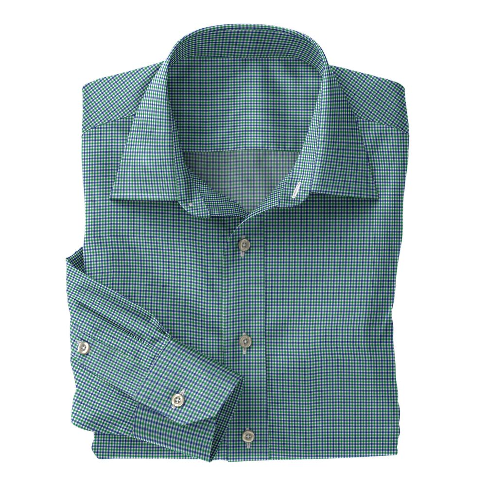 Green and Navy Micro Check Poplin