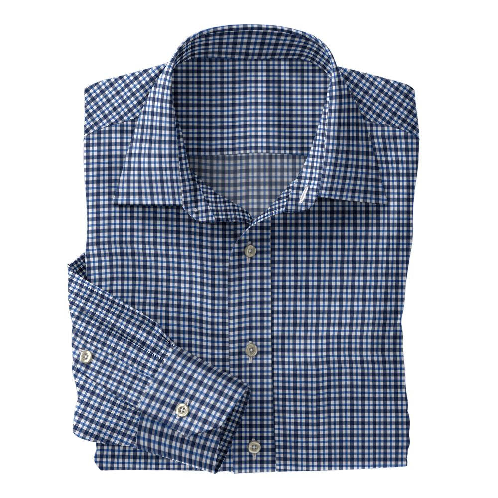 Navy and Blue Plaid Poplin