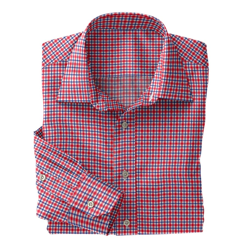 Red and Blue Plaid Poplin