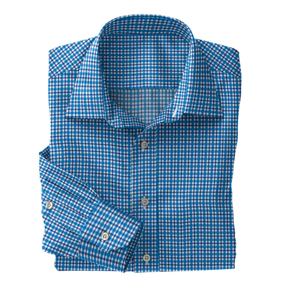 Turquoise and Navy Plaid Poplin