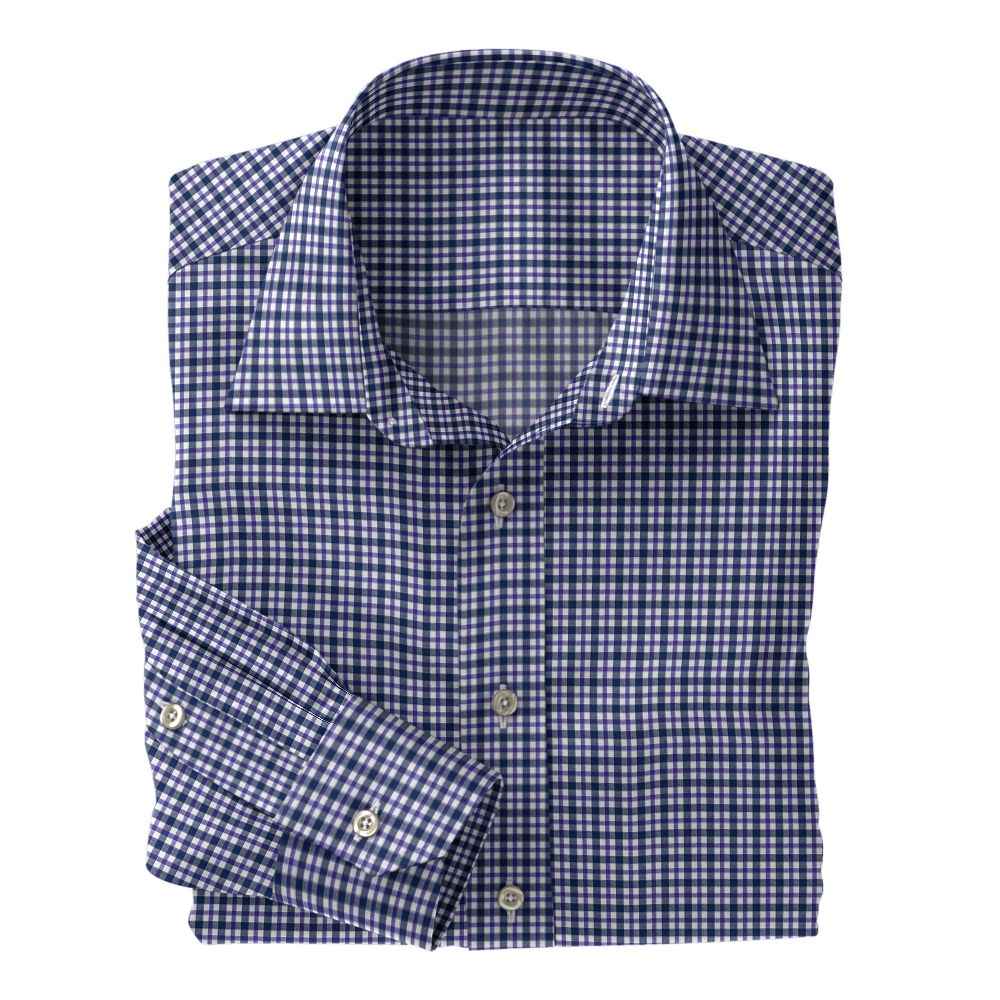 Navy and Purple Plaid Poplin