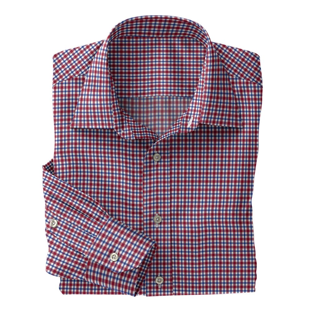 Maroon and Blue Plaid Poplin