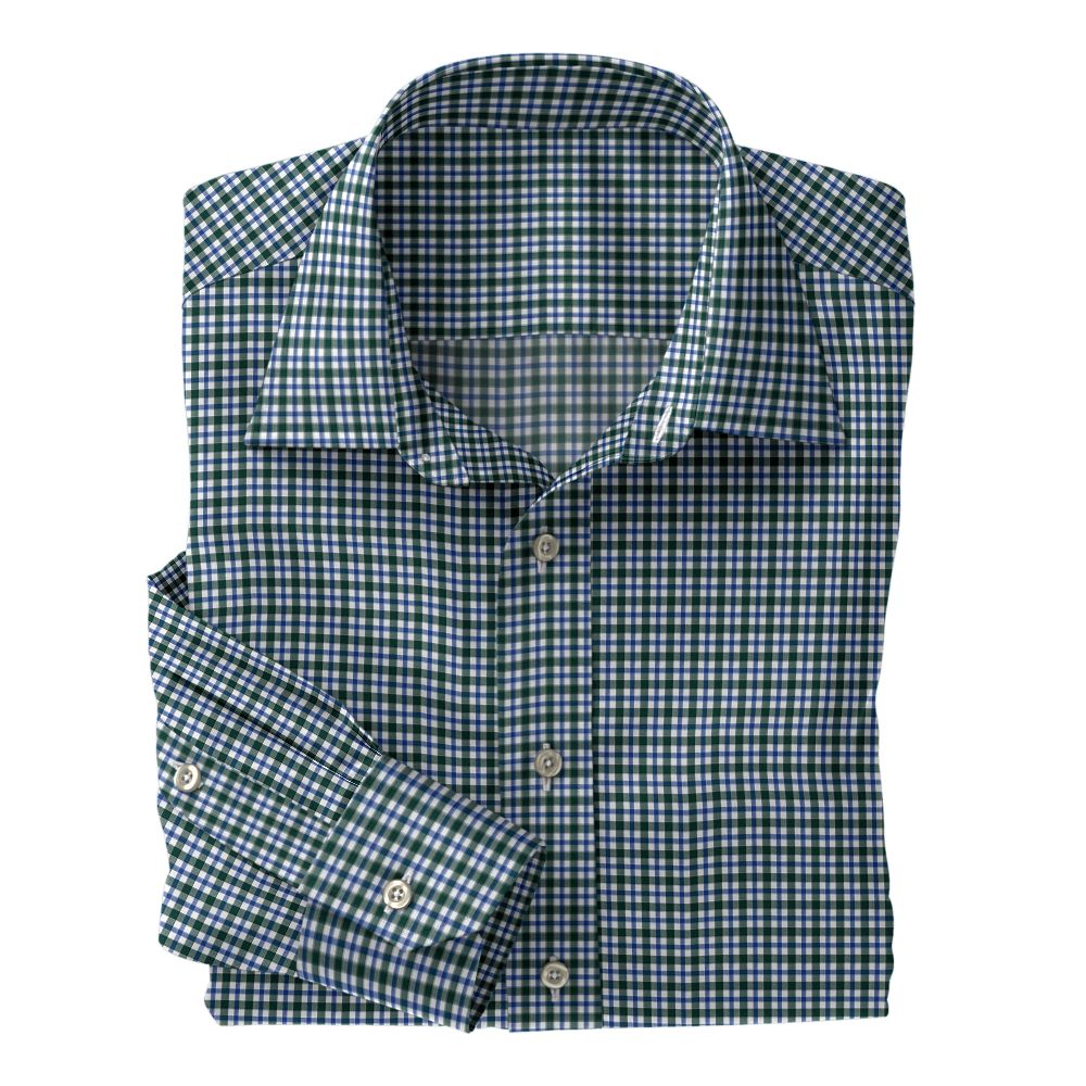 Green and Blue Plaid Poplin