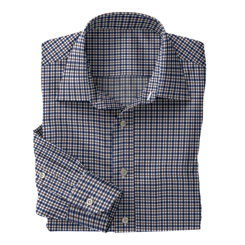 Navy and Brown Plaid Poplin