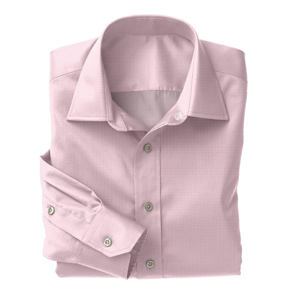 Pink Micro Check Poplin