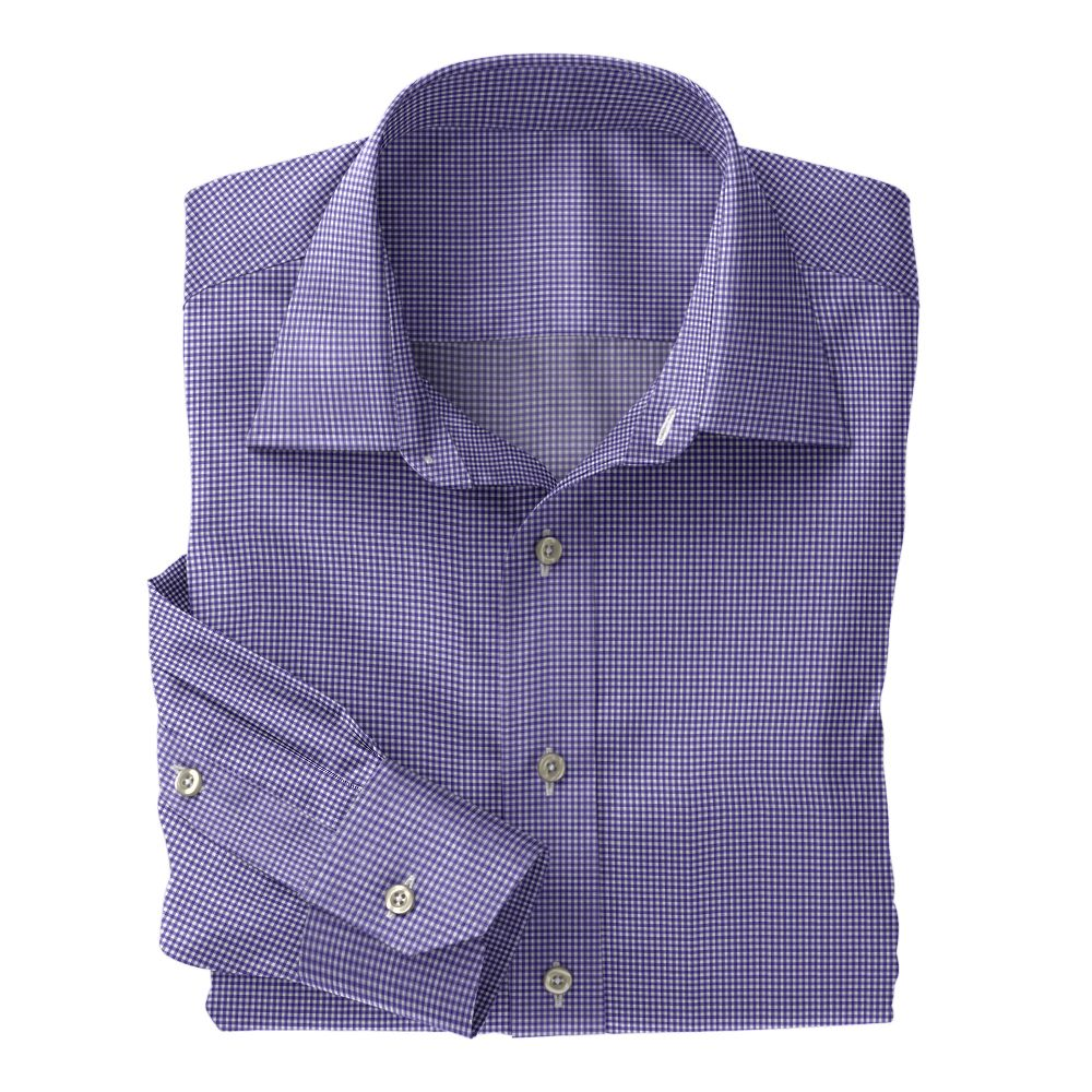 Purple Micro Check Poplin