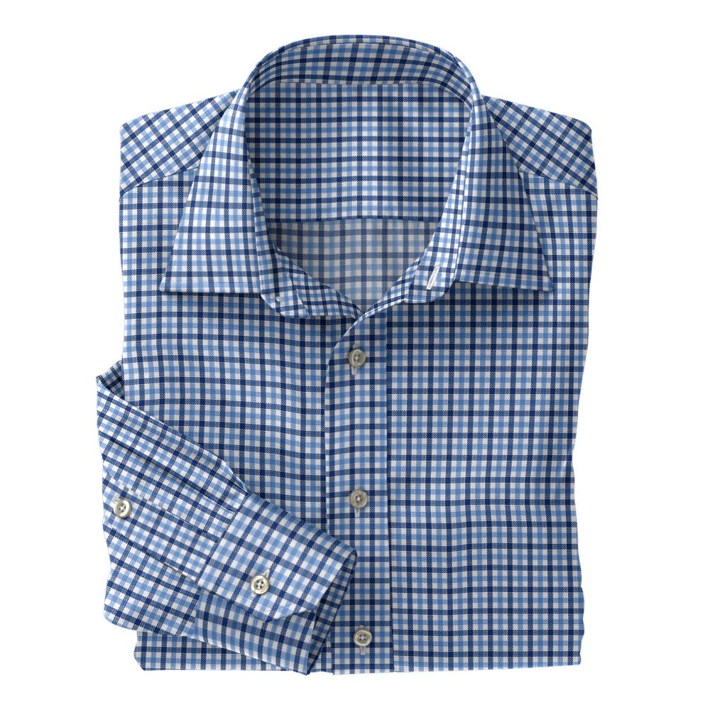 Light Blue and Blue Check Oxford