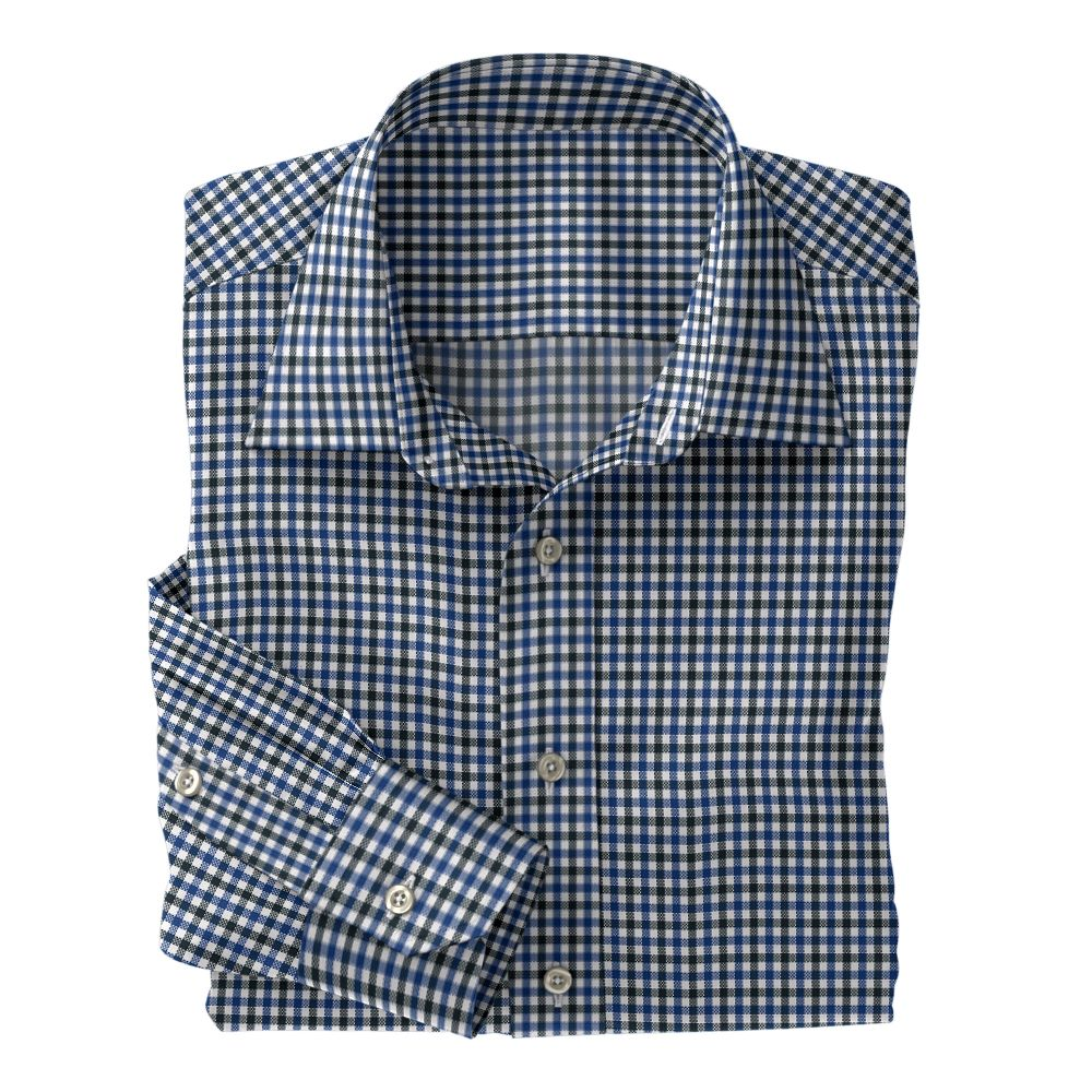 Black and Blue Check Oxford