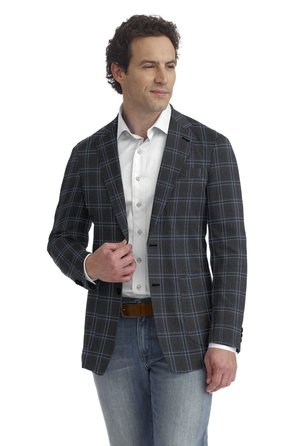 Grey Blue Ivory Check
