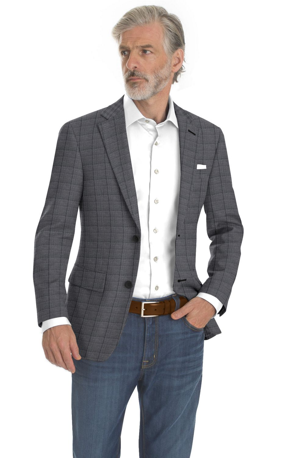 Light Grey Self Windowpane