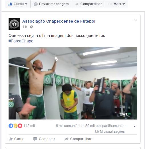 Clube divulgou os bastidores da comemoração do grupo após a classificação para final da competição. Foto: Reprodução/ Facebook