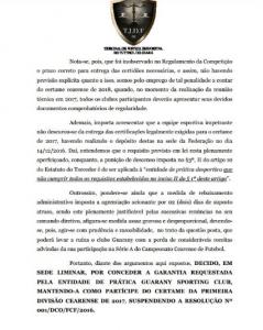 Decisao em caráter provisório do presidente do TJDF-CE, Frederico Bandeira.