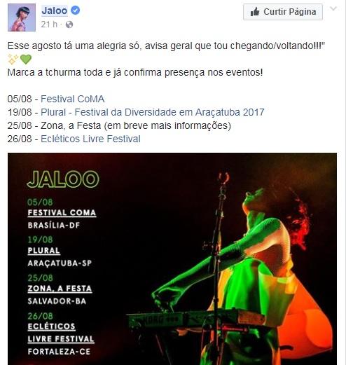 Publicação de Jaloo nas redes sociais.