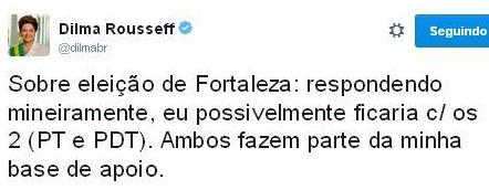 Postagem do perfil oficial de Dilma no Twitter (@dilmabr)