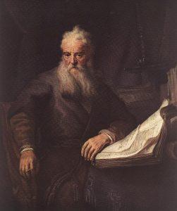 Excelências, lembrem de São Paulo, o apóstolo, Pintura de Rembrandt.