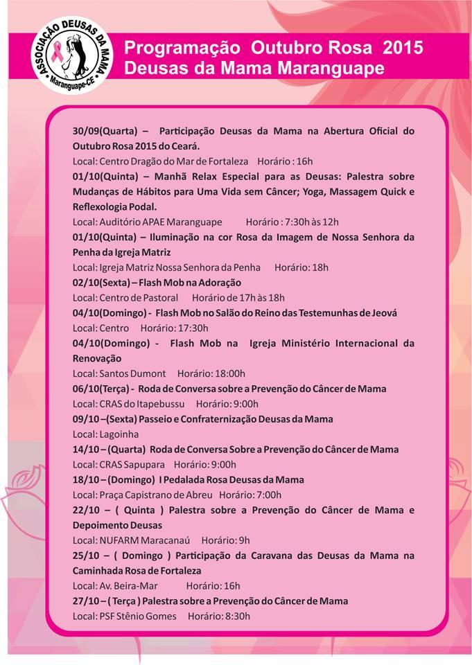 Asssociação Deusas da Mama de Maranguape. Outubro Rosa 2015. Divulgação