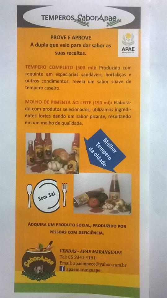 Lançamento do Temperos SaborAPAE acontece em Maranguape. Divulgação