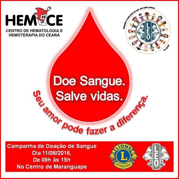 Lions e Leo Clube de Maranguape realizam campanha de doação de sangue. Diivulgação