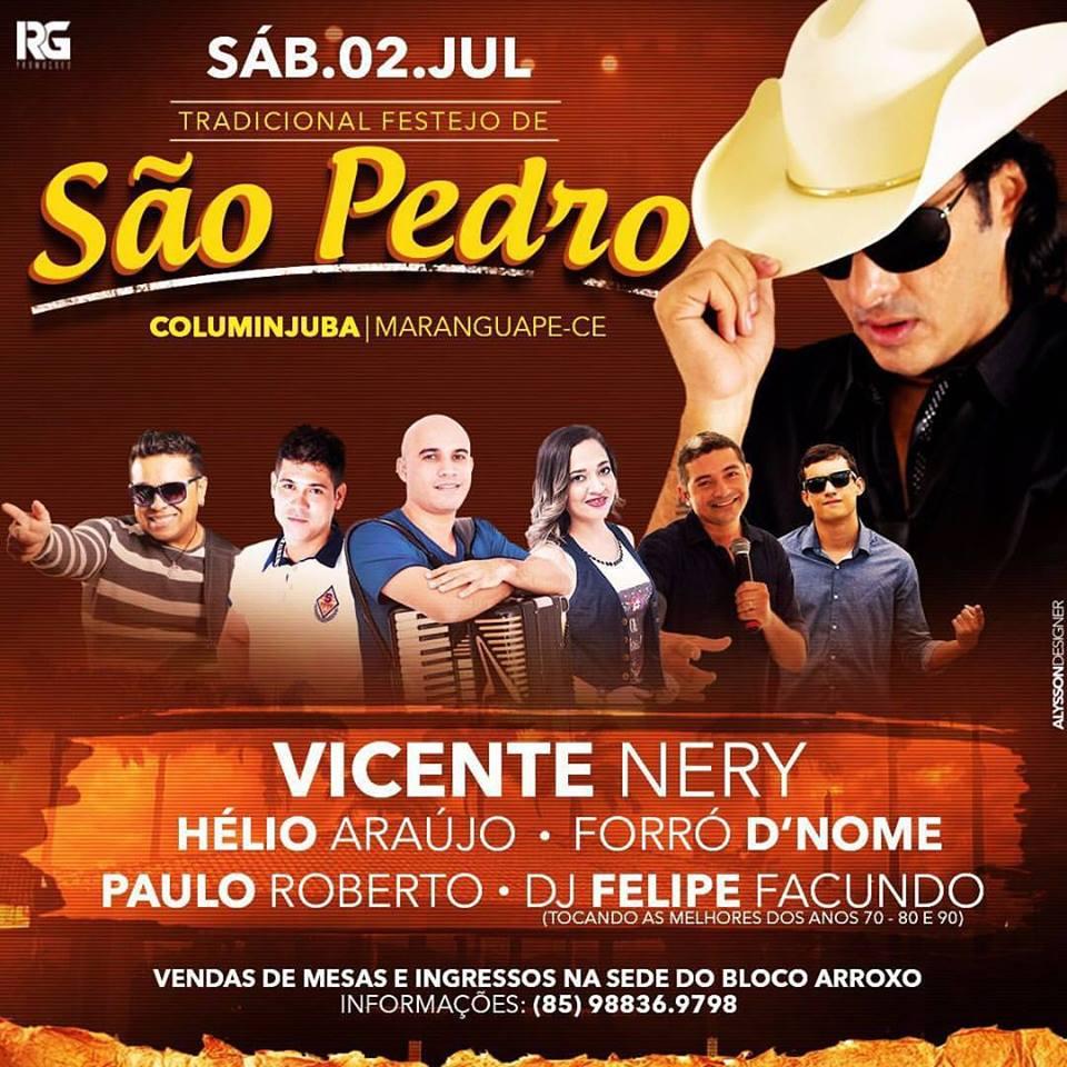 Vicente Nery é atraão do tradicional festejo de São Pedro, nesse sábado (02), no Columinjuba Club, em Maranguape