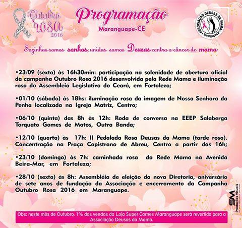 Programação do Outubro Rosa 2016 da Associação Deusas da Mama de Maranguape-CE. Divulgação