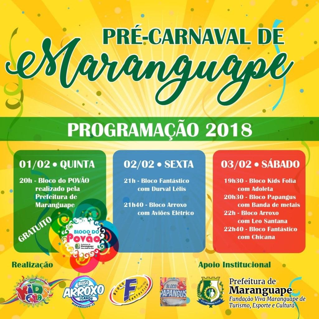Pré-Carnaval de Maranguape 2018: confira programação. Divulgação
