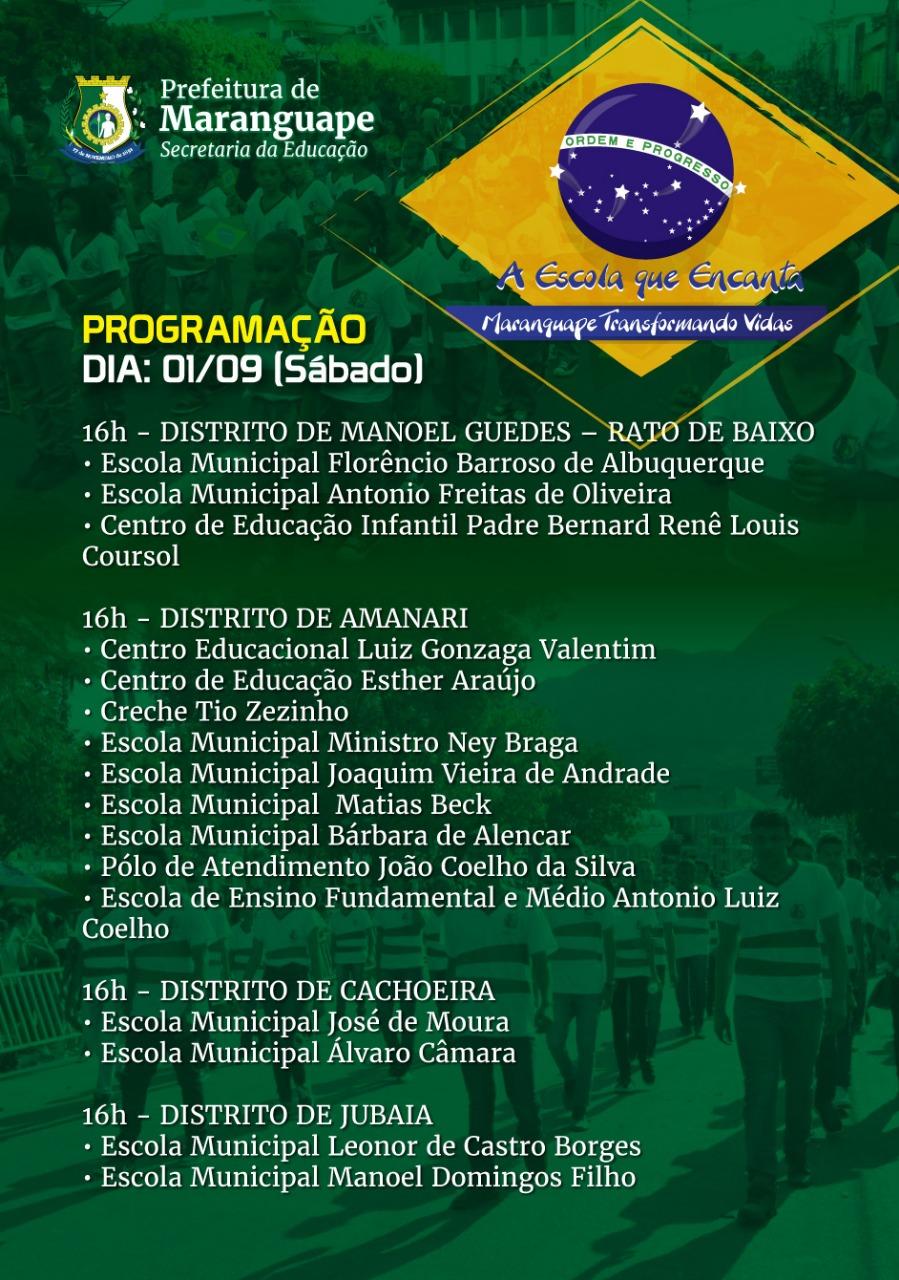 Semana Cívica de Maranguape 2018. Divulgação