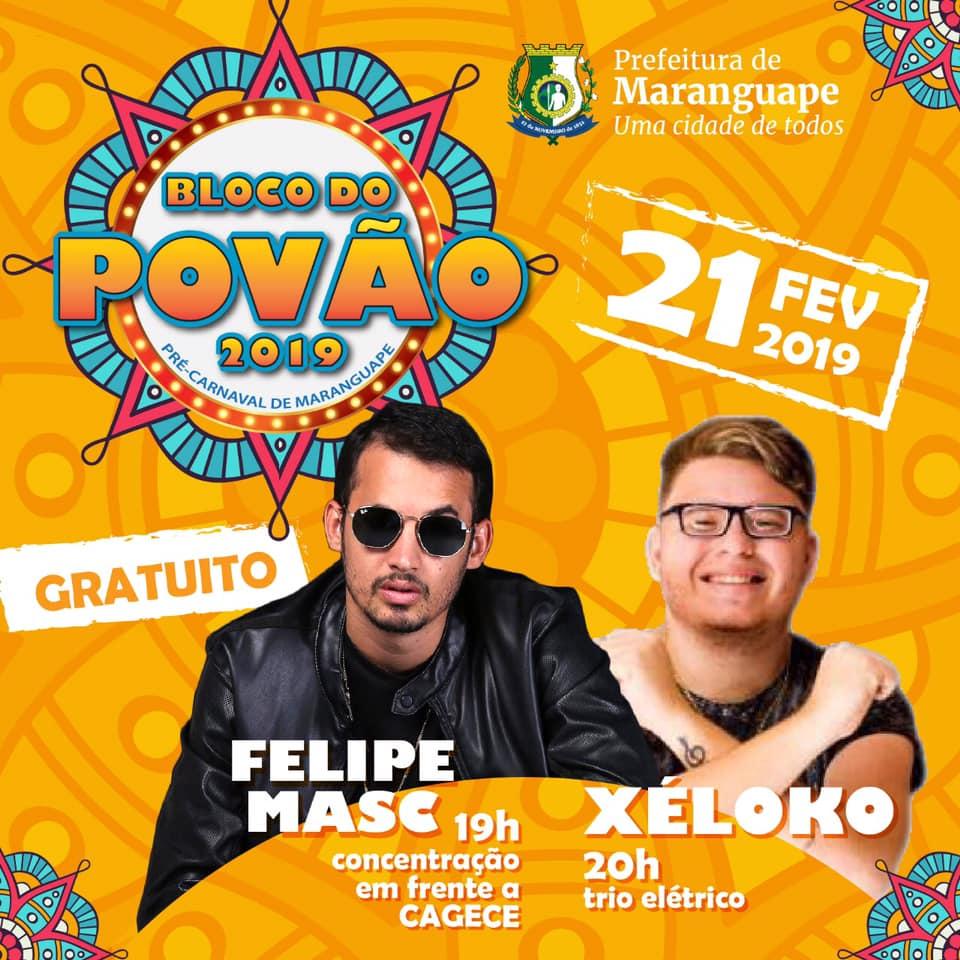 Pré-Carnaval de Maranguape 2019. Bloco do Povão. Divulgação