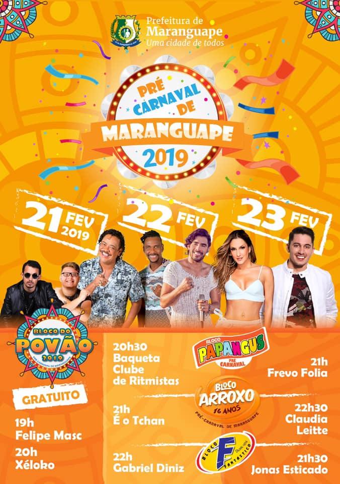 Pré-Carnaval de Maranguape 2019. Programação. Divulgação