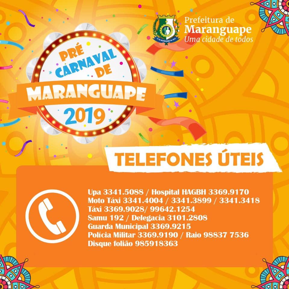 Pré-Carnaval de Maranguape 2019. Telefones uteis. Divulgação