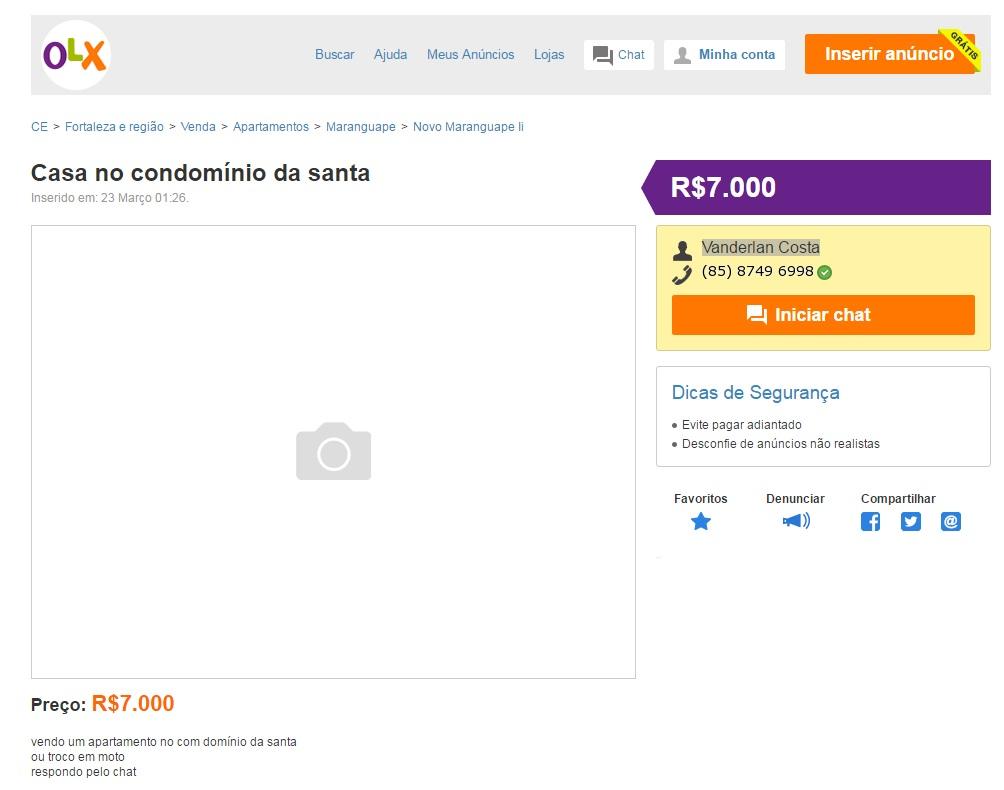 Anúncio de venda ilegal de imóvel no OLX (FOTO: Reprodução)