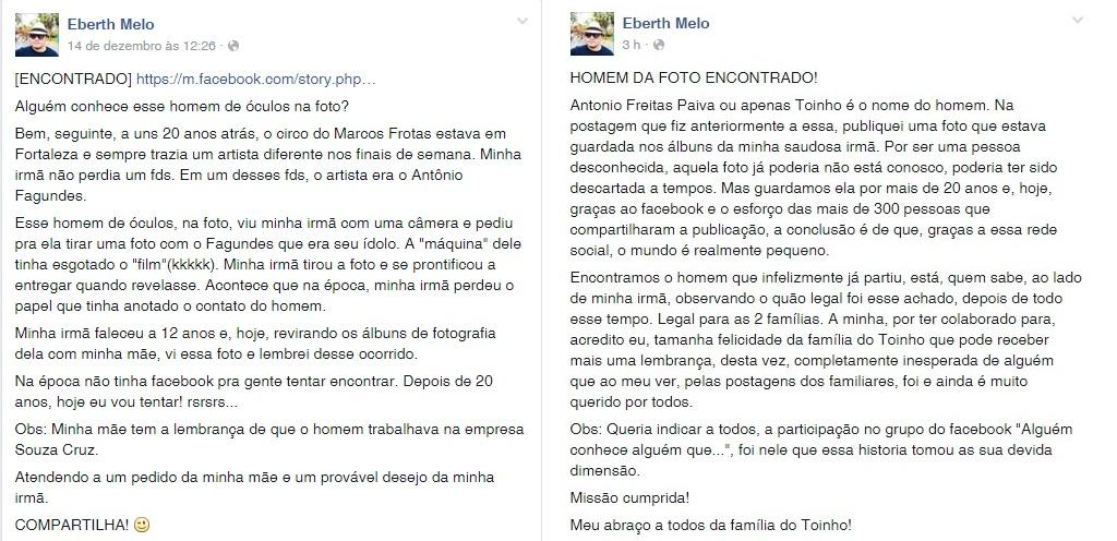 Mensagem publicada por Eberth antes e depois de identificar Antônio (FOTO: Reprodução Facebook)