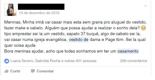 Mulher pede colaboração para casamento da irmã (FOTO: Facebook)
