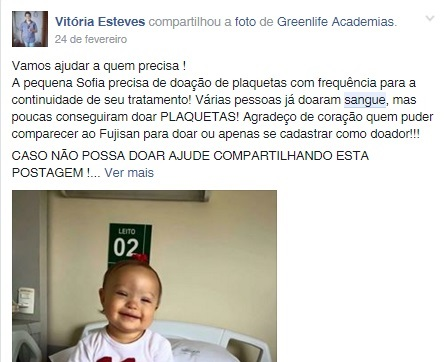 Campanha mobilizou diversos doadores do grupo (FOTO: Facebook)
