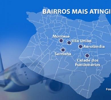 Barulho das aeronaves chega a 85 decibéis (FOTO: Reprodução TV Jangadeiro)