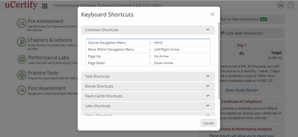 The figure is showing the course dashboard with Keyboard Shortcuts modal box.