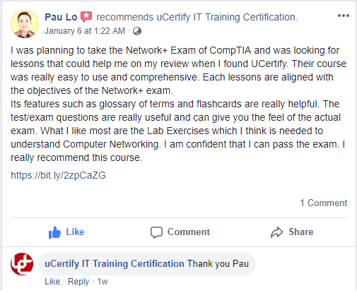 Pau Lo reviewed uCertify Network+ course.