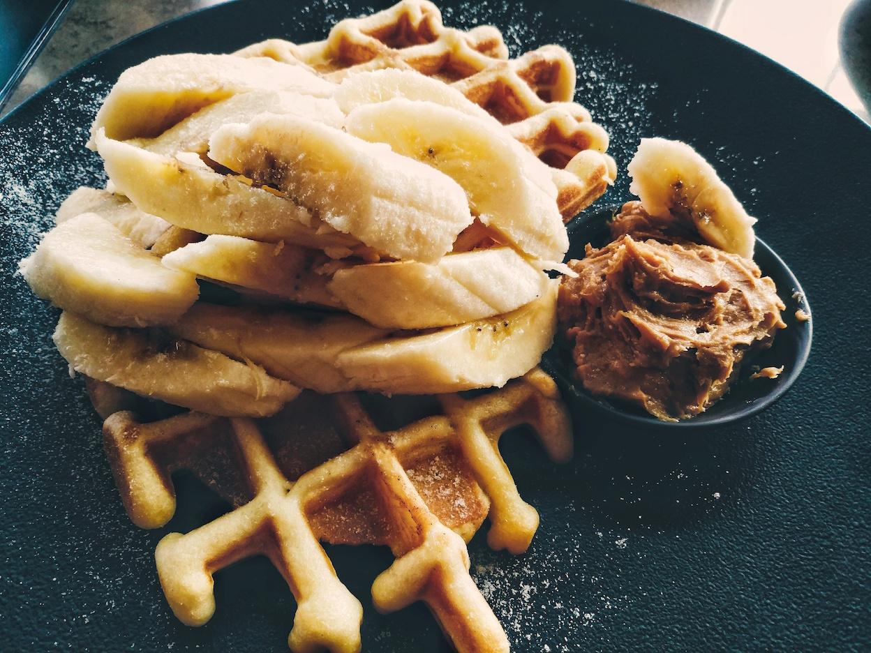 Peanut Butter Banana Waffles
