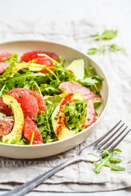 Grapefruit Avocado Prosciutto Salad