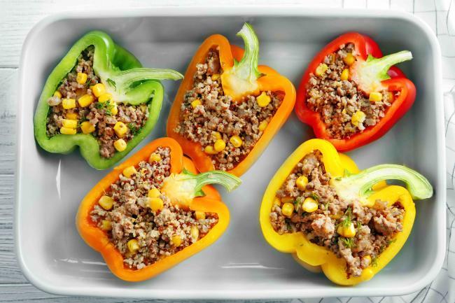 Quick & Easy Quinoa-Stuffed Peppers