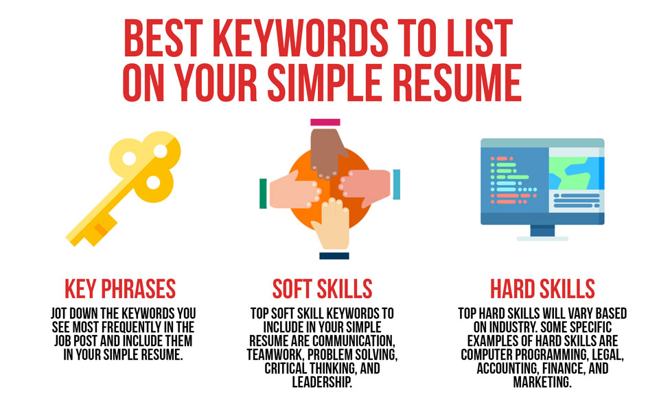 best keywords to list on your simple resume simple resume by