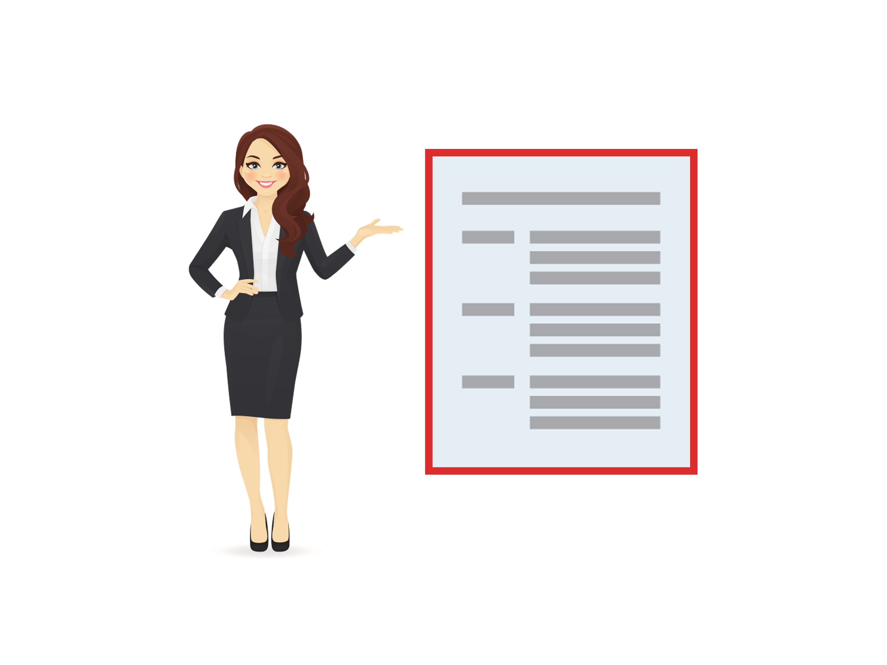 woman demonstrates how to use bullet points in a resume
