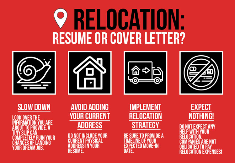 infographic summarizing relocation tips for simple resume and simple resume cover letter writing