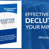 Stack of books and book cover for Declutter Your Mind by JM Lesko
