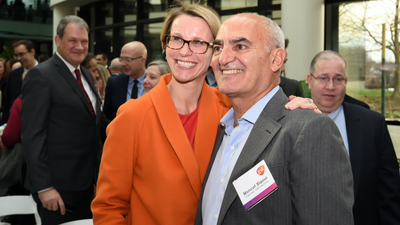 Moncef Slaoui with GlaxoSmithKline CEO Emma Walmsley