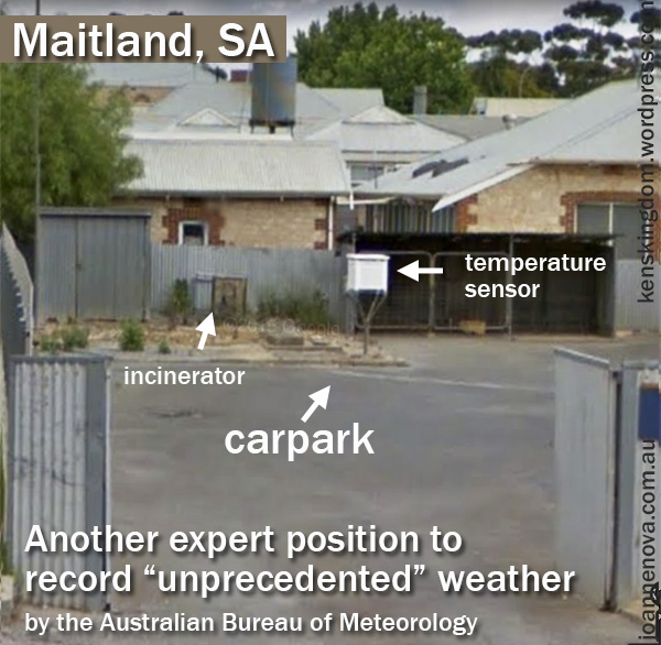 Maitland SA: Another expert thermometer site — and with incinerator